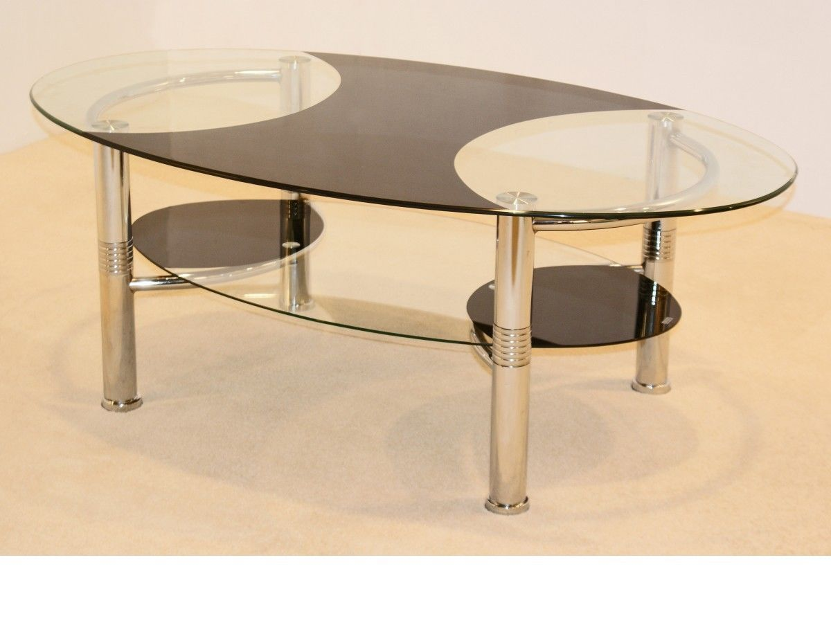Large oval black clear glass coffee table with shelf for Large glass coffee table