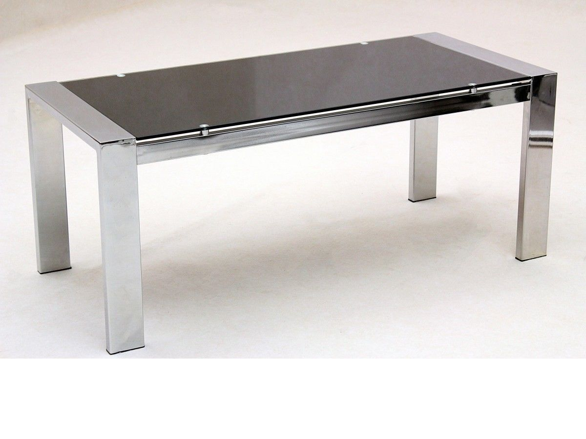 Large glass coffee table rectangle chrome legs homegenies for Large glass coffee table