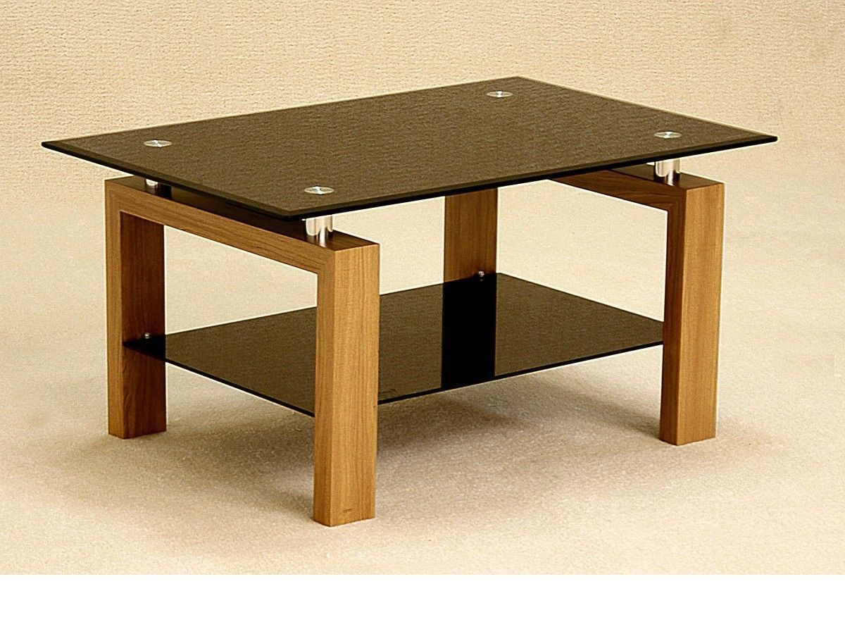Black glass coffee table with wood oak finish base homegenies Black coffee table with glass