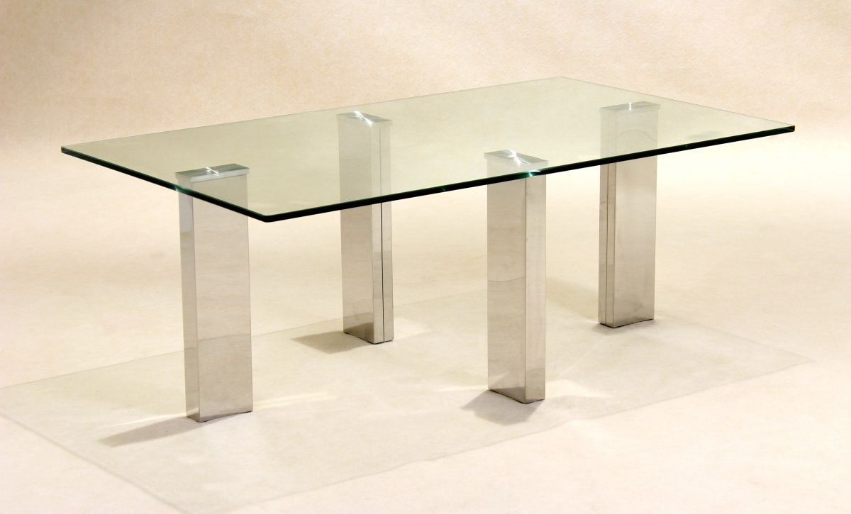 Clear Glass Coffee Table With Stainless Steel Legs Homegenies