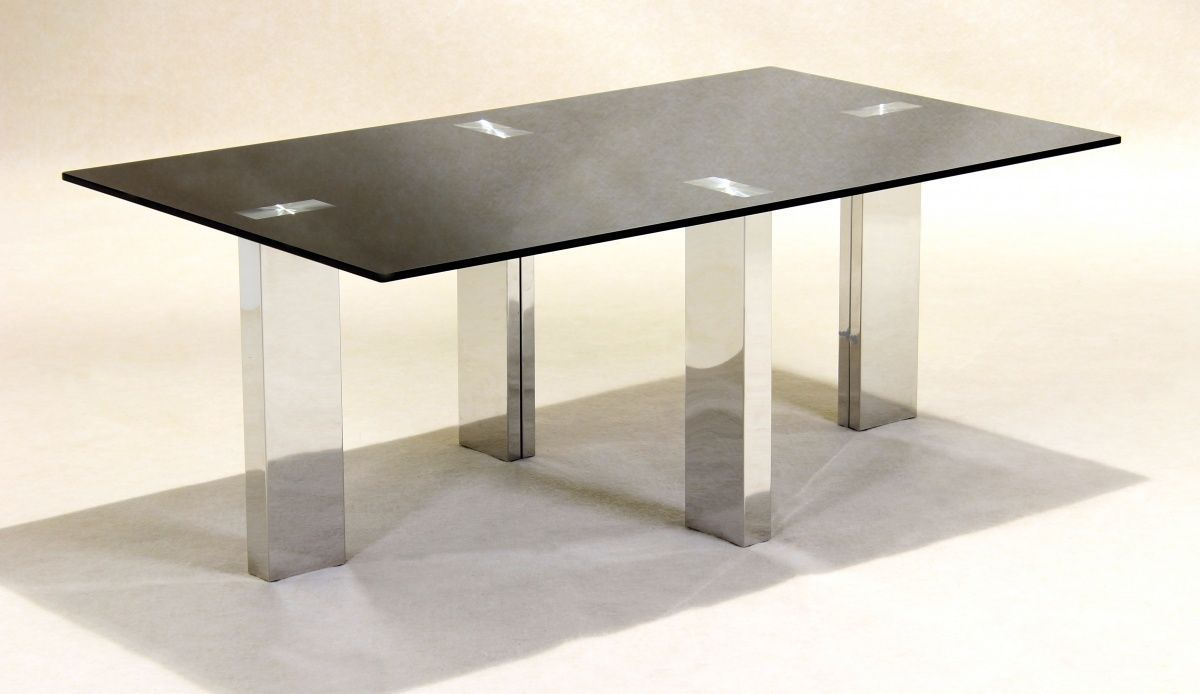 Black Glass Coffee Table With Stainless Steel Legs Homegenies