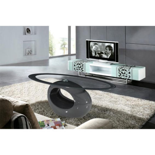 Oval Grey High Gloss Glass Coffee Table