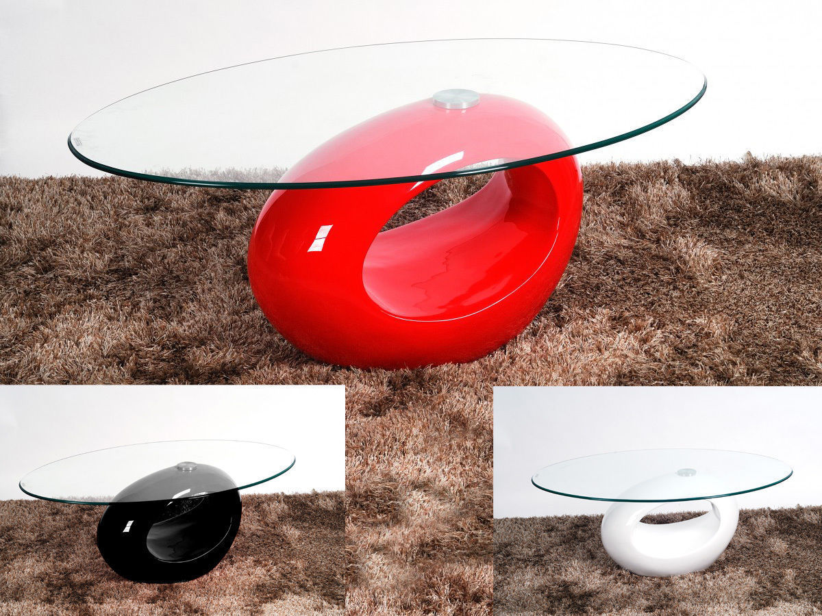 Oval Glass Coffee Table With Red High Gloss Base ...