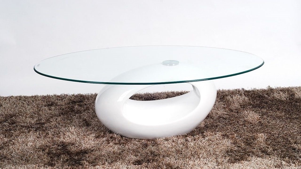 Oval Glass Coffee Table With White High Gloss Base Homegenies