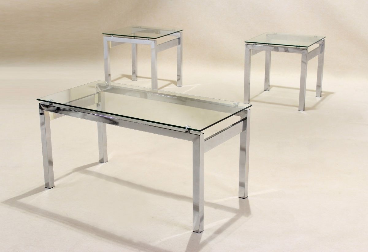 Clear glass coffee table 2 matching side table lamp table Coffee table and side table