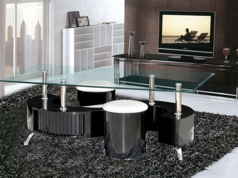 Black High Gloss S Shaped Coffee Table And 2 Stools ...