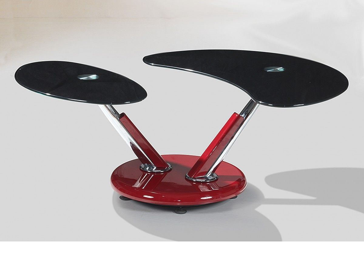 Red High Gloss Adjustable Black Glass Coffee Table ...