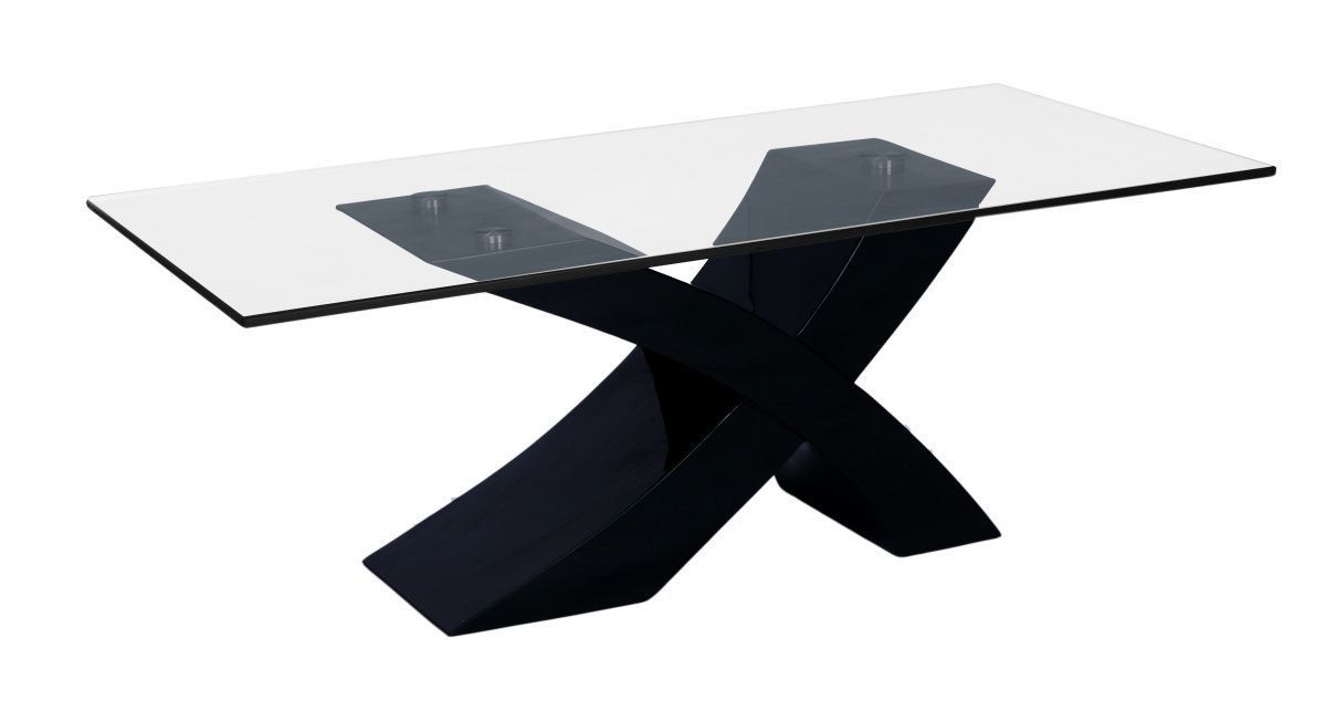 Large Black High Gloss Clear Glass Coffee Table Homegenies