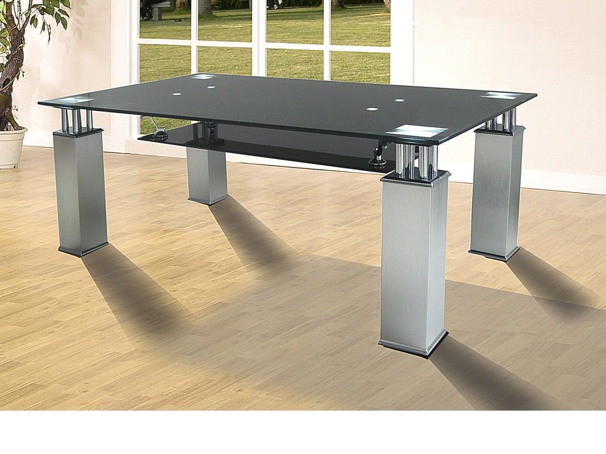 Black Glass Coffee Table With Aluminium Legs Homegenies