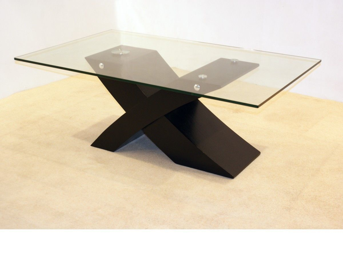 Clear glass coffee table with black ash finish base homegenies Glass coffee table base