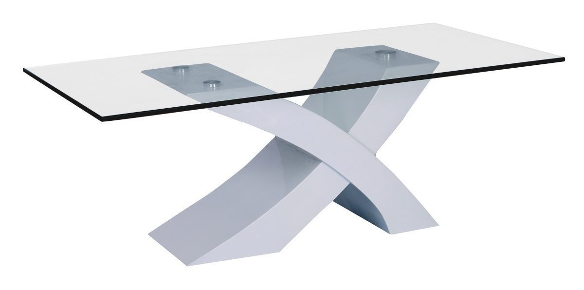 Large White High Gloss Glass Coffee Table Homegenies