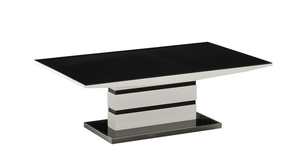 White High Gloss Coffee Table Black Glass Top Homegenies