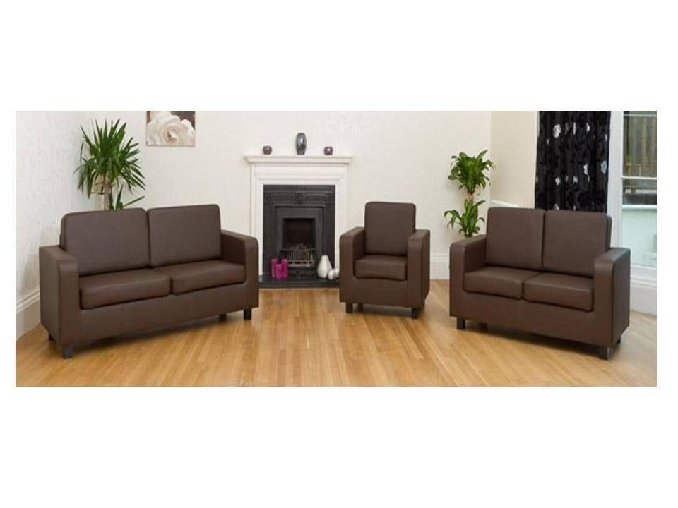 Faux Leather Sofa 2 3 Seater Sets Brown Black Cream