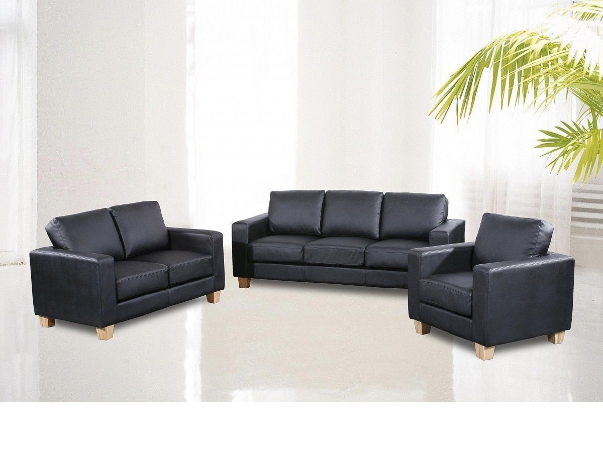 full set 3 2 1 seater sofa suite faux leather homegenies. Black Bedroom Furniture Sets. Home Design Ideas