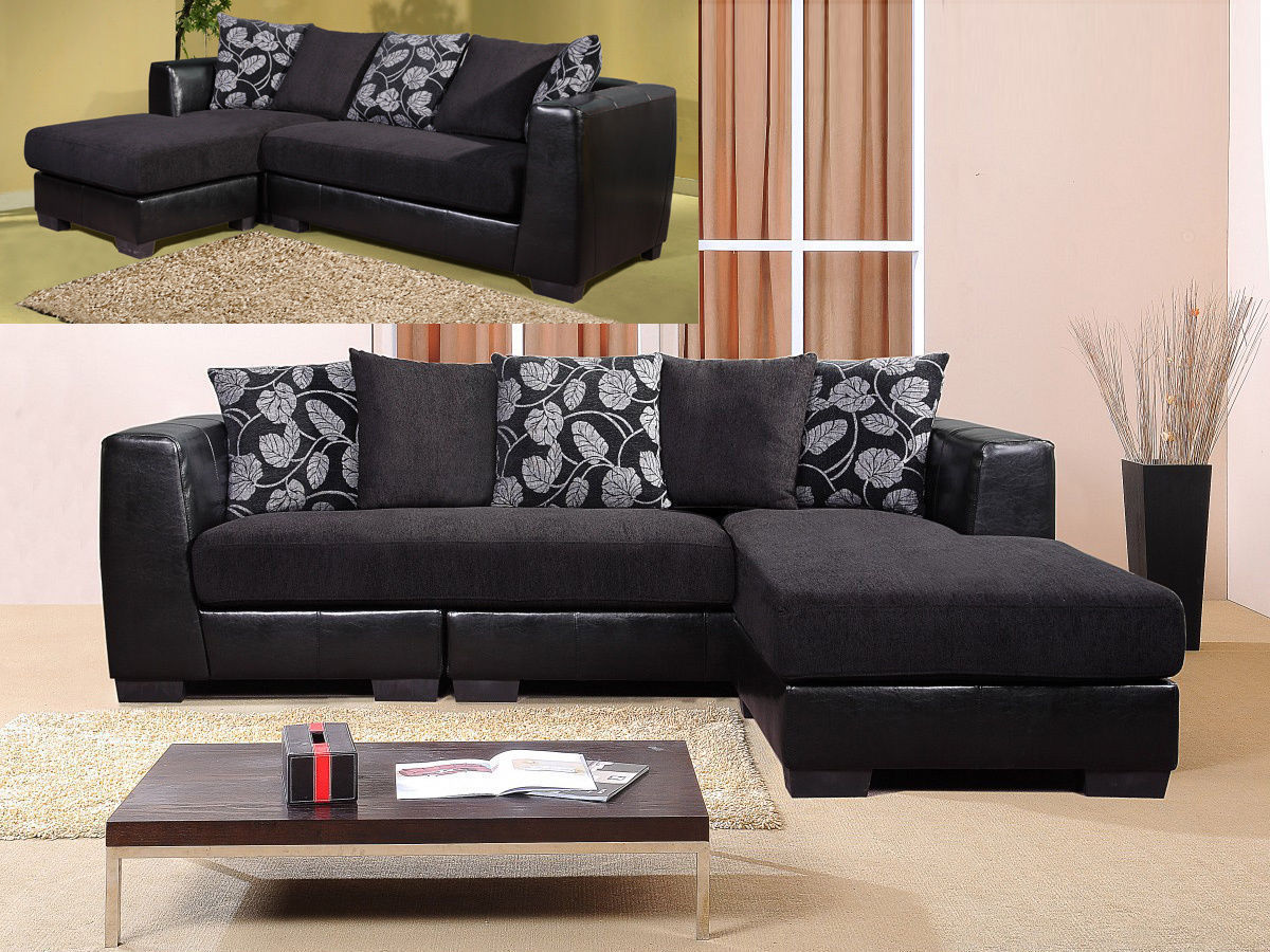 Black 3 Seater Chaise Sofa Suite Faux Leather Fabric