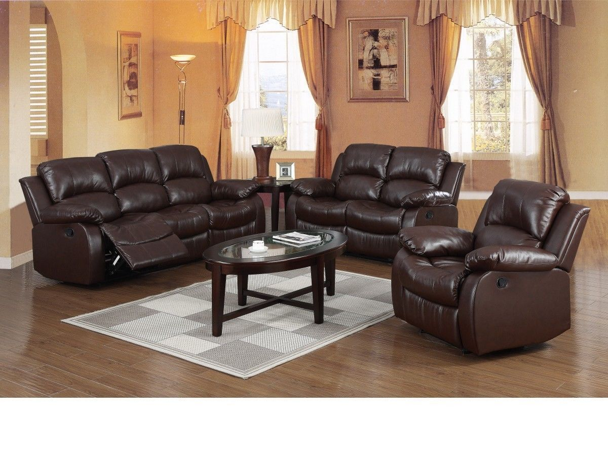 brown leather recliner 3 2 1 seater sofa suite homegenies. Black Bedroom Furniture Sets. Home Design Ideas