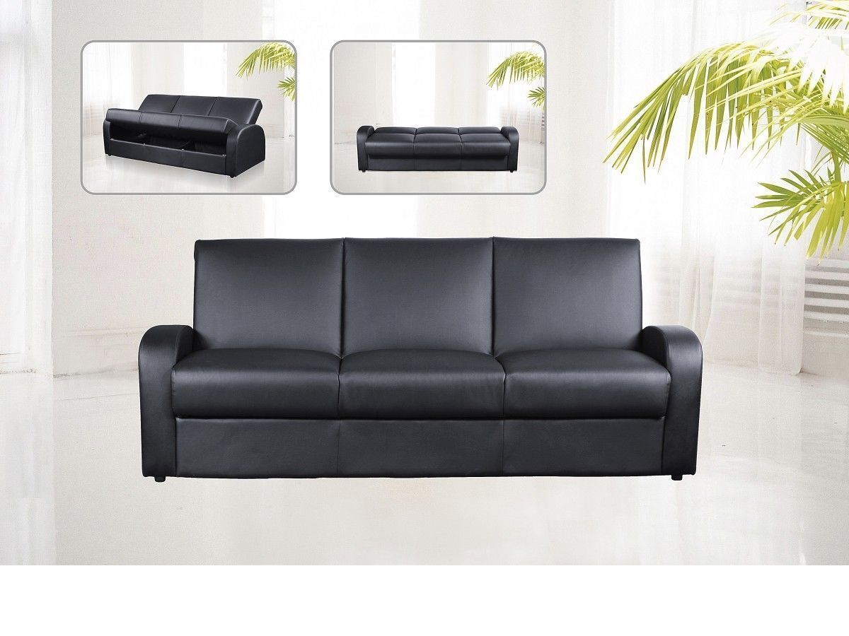 faux leather 3 seater sofa bed black brown cream
