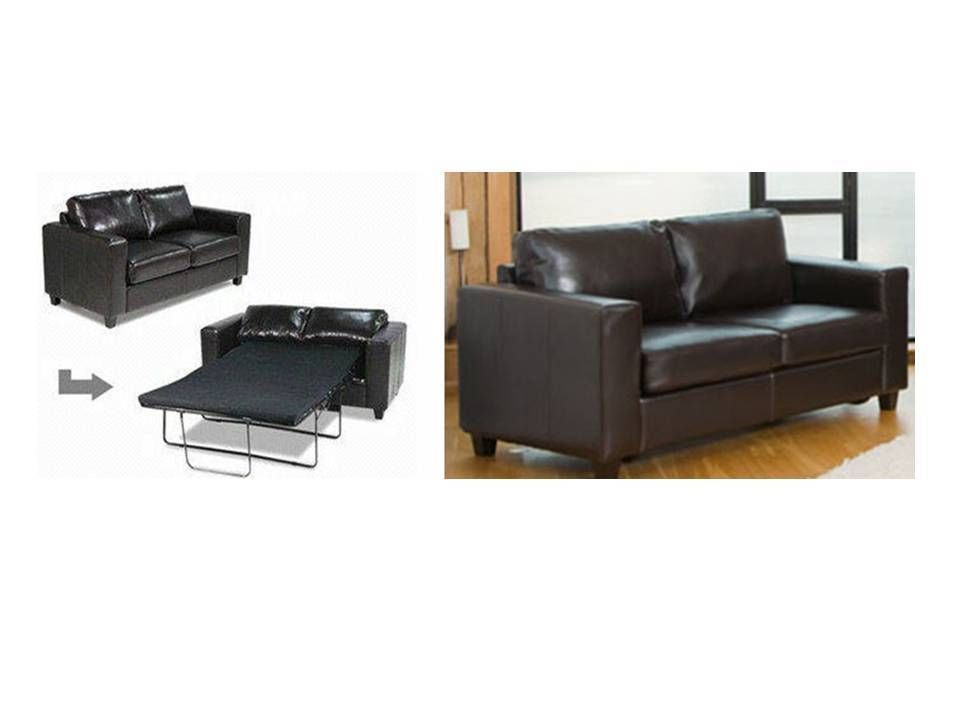 Large leather sofa bed in black, brown, red, ivory