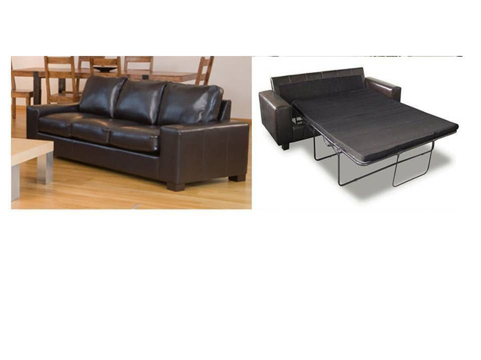 Leather 3 seater sofa bed in black brown red ivory for Black double divan bed