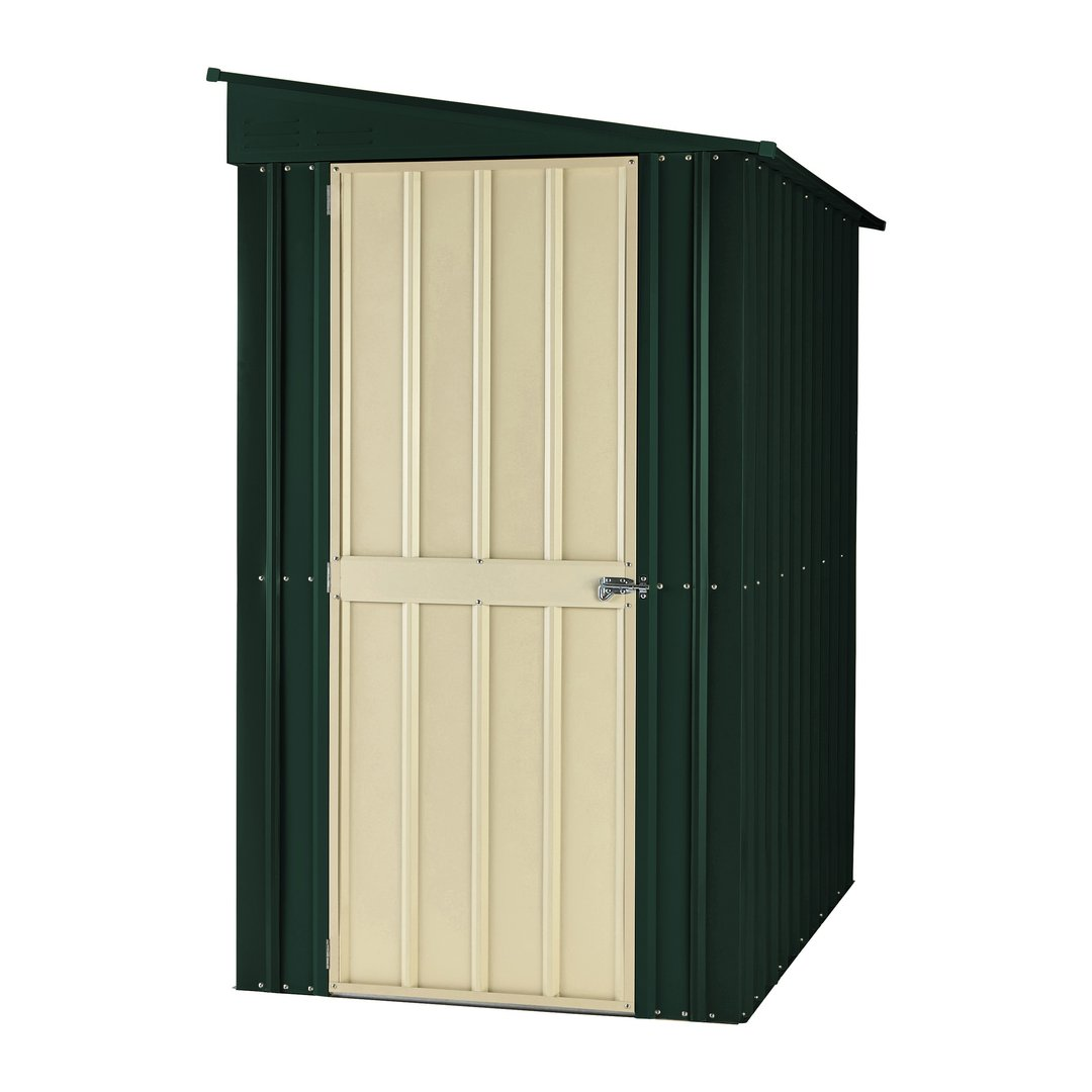 Metal garden shed 8 x 5ft Lean To in green and cream