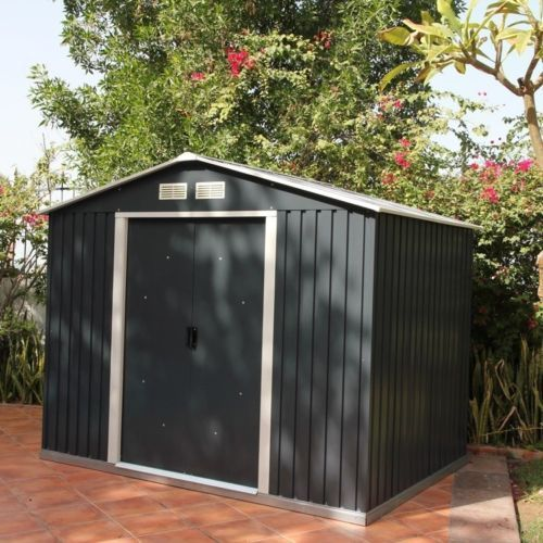 Metal Apex Garden Shed 8 X 6ft In Grey And White ...