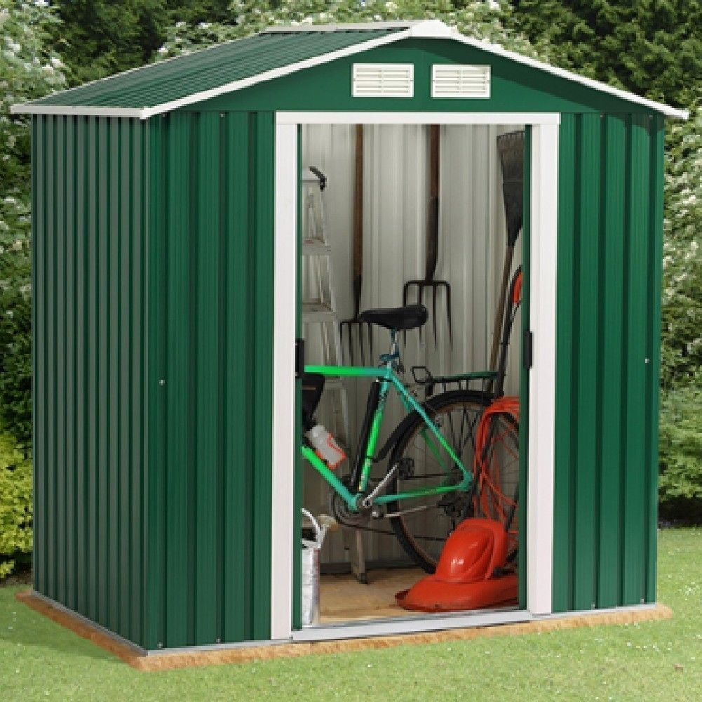 Metal garden shed 6 x 8ft green white with apex roof for Garden shed 6 x 4