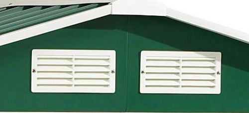 Metal garden shed 8x8ft green white with apex roof for Garden shed ventilation