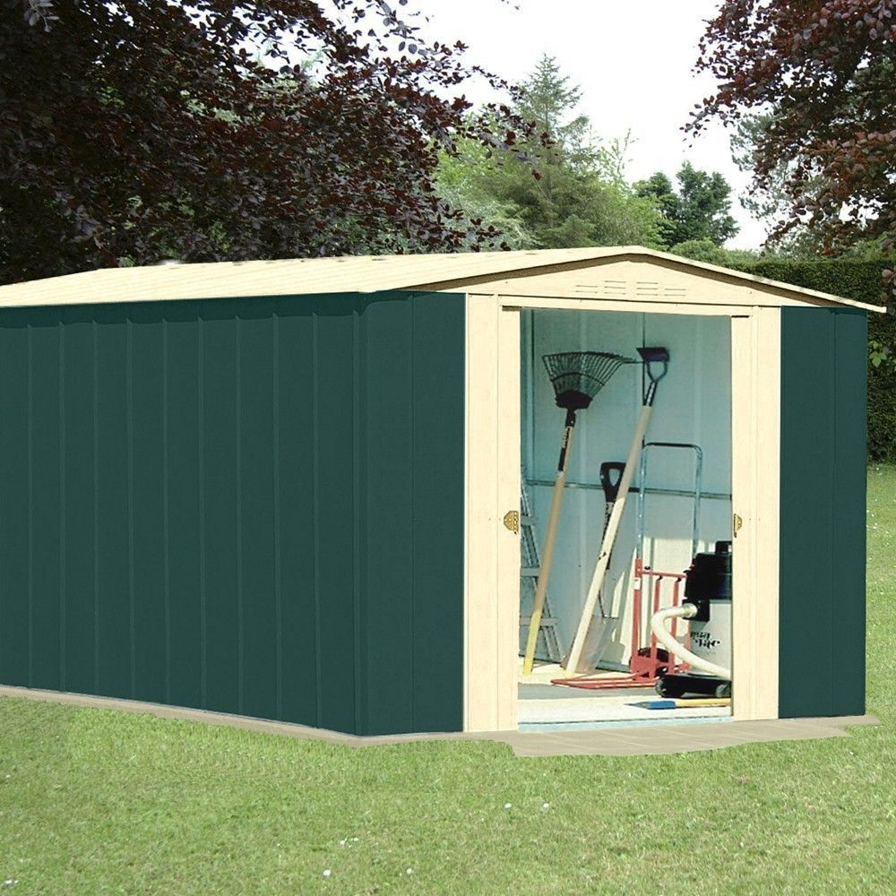10x13 Metal Carport : Metal apex garden shed ft in green and cream homegenies