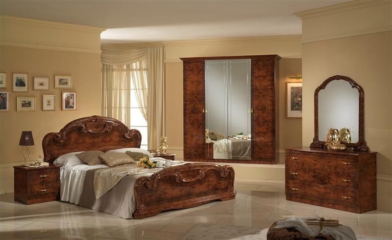 Italian high gloss walnut bedroom furniture set - Homegenies