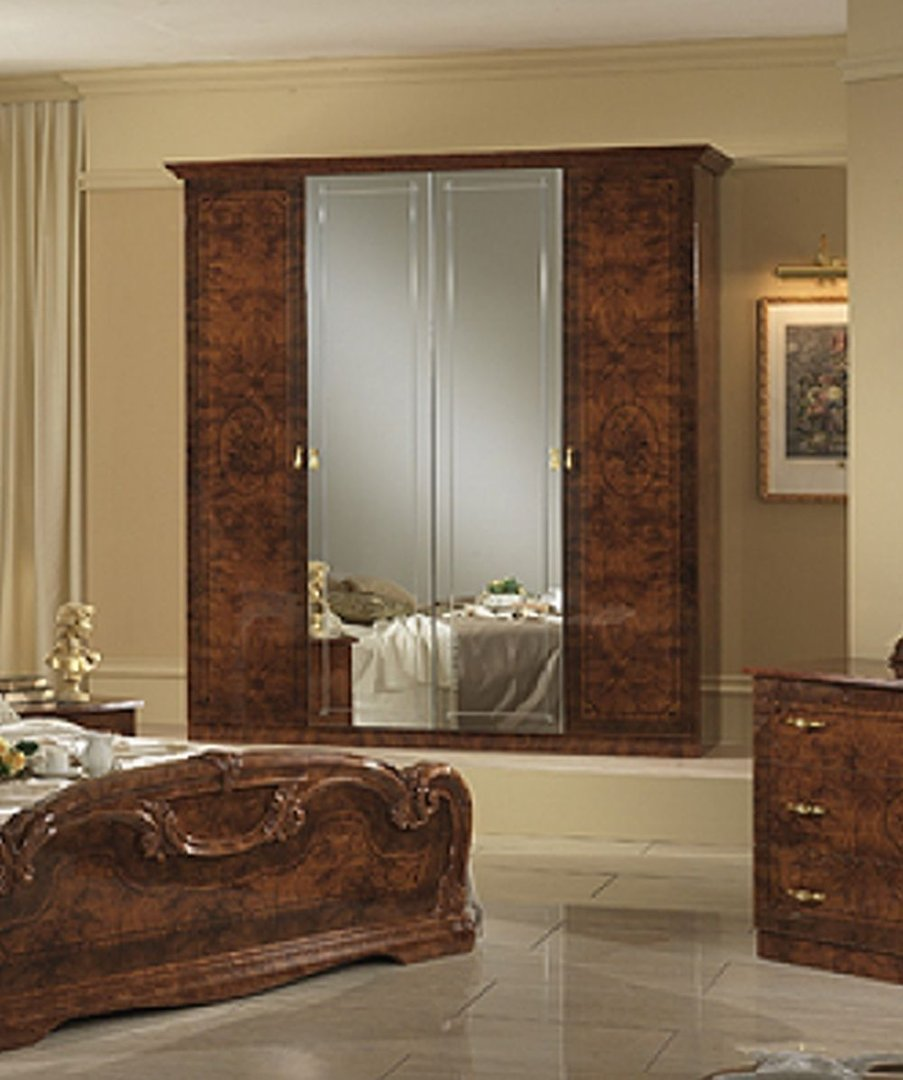Italian high gloss walnut bedroom furniture set homegenies for High gloss bedroom furniture