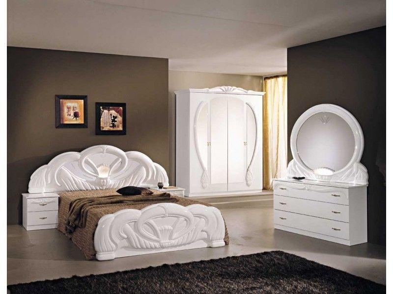 Italian White High Gloss Bedroom Furniture Set Homegenies