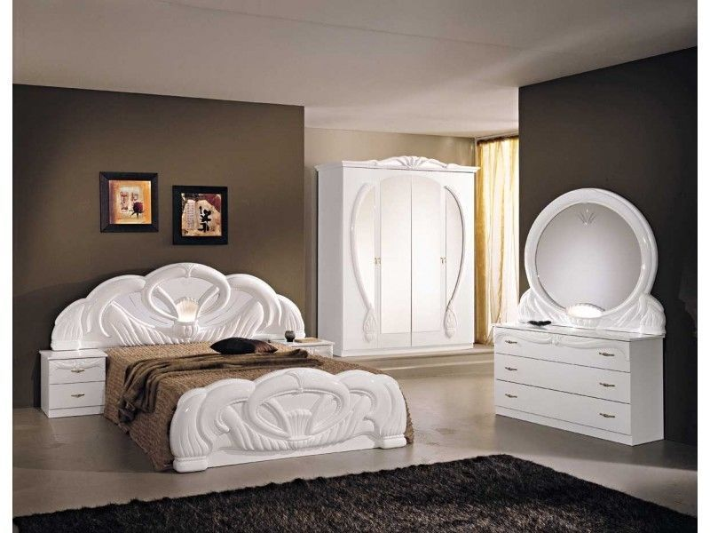Italian White High Gloss Bedroom Furniture Set Homegenies