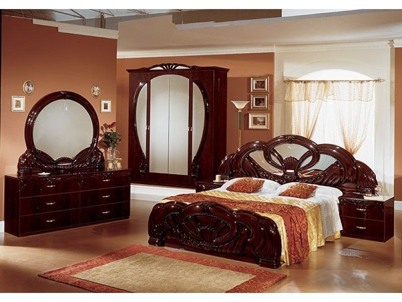 Stylish italian mahogany high gloss bedroom furniture -Homegenies