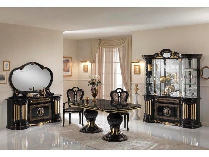 Gold Black Italian Furniture Sets High Gloss Dining Table And Chairs