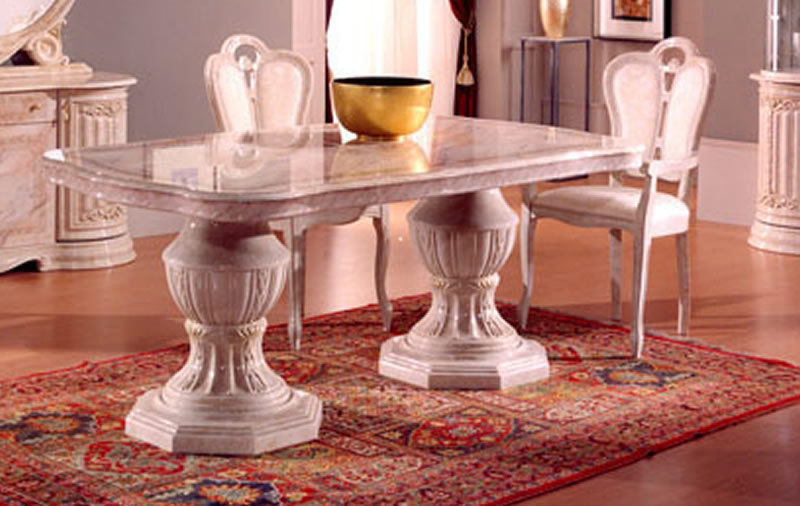 Beige Italian Furniture Sets High Gloss Dining Table And