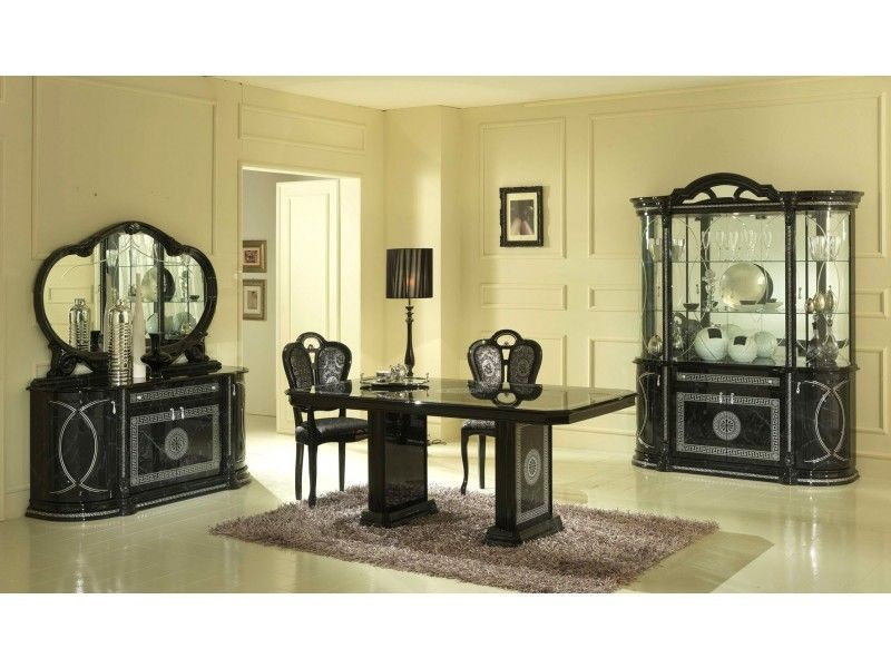 Black Italian Furniture Sets High Gloss Dining Table And