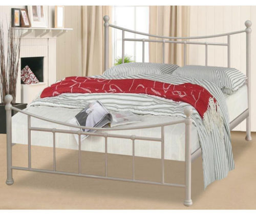 Dark gun, ivory metal bed frame, single, double, king with slats
