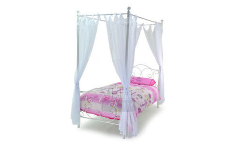 Kids Single Metal 4 Poster Bed Frame Finished In White