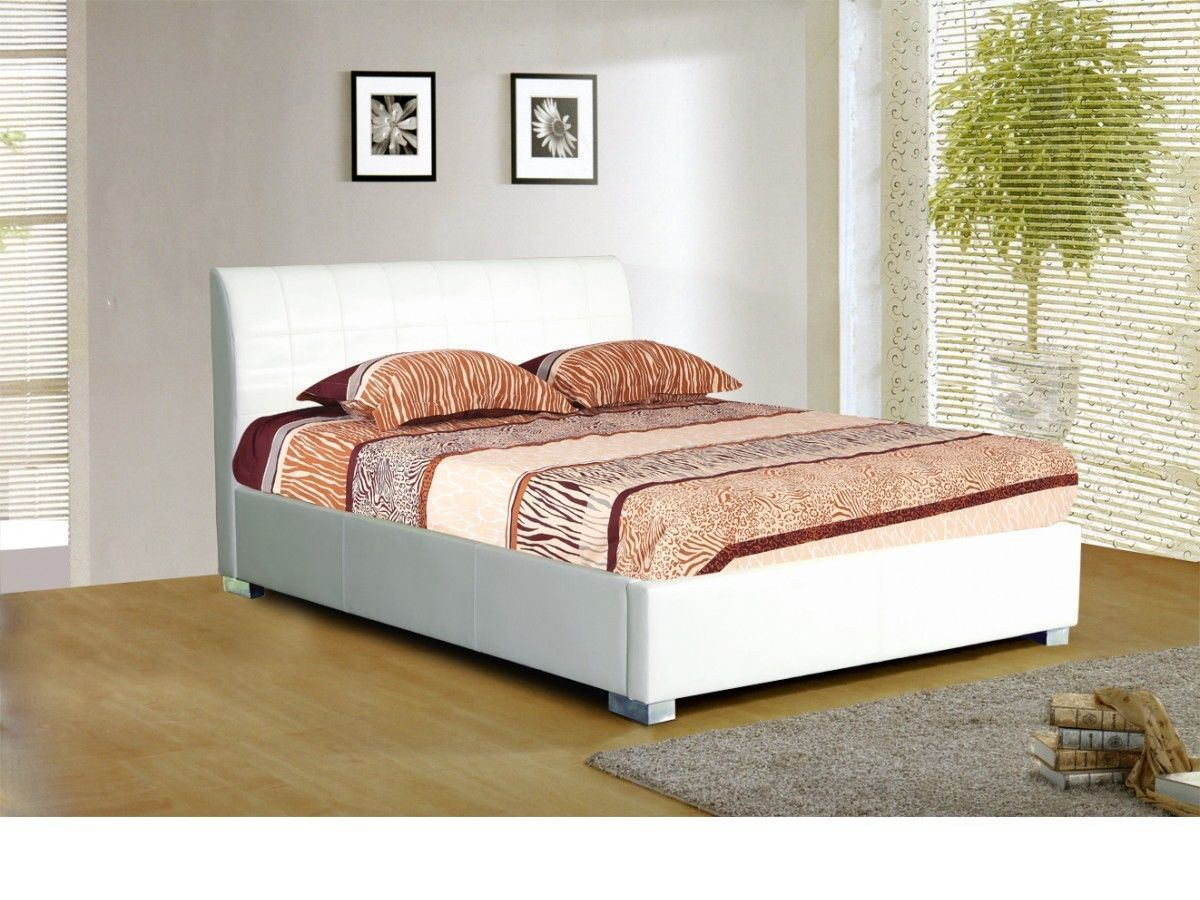 white faux leather bed homegenies. Black Bedroom Furniture Sets. Home Design Ideas