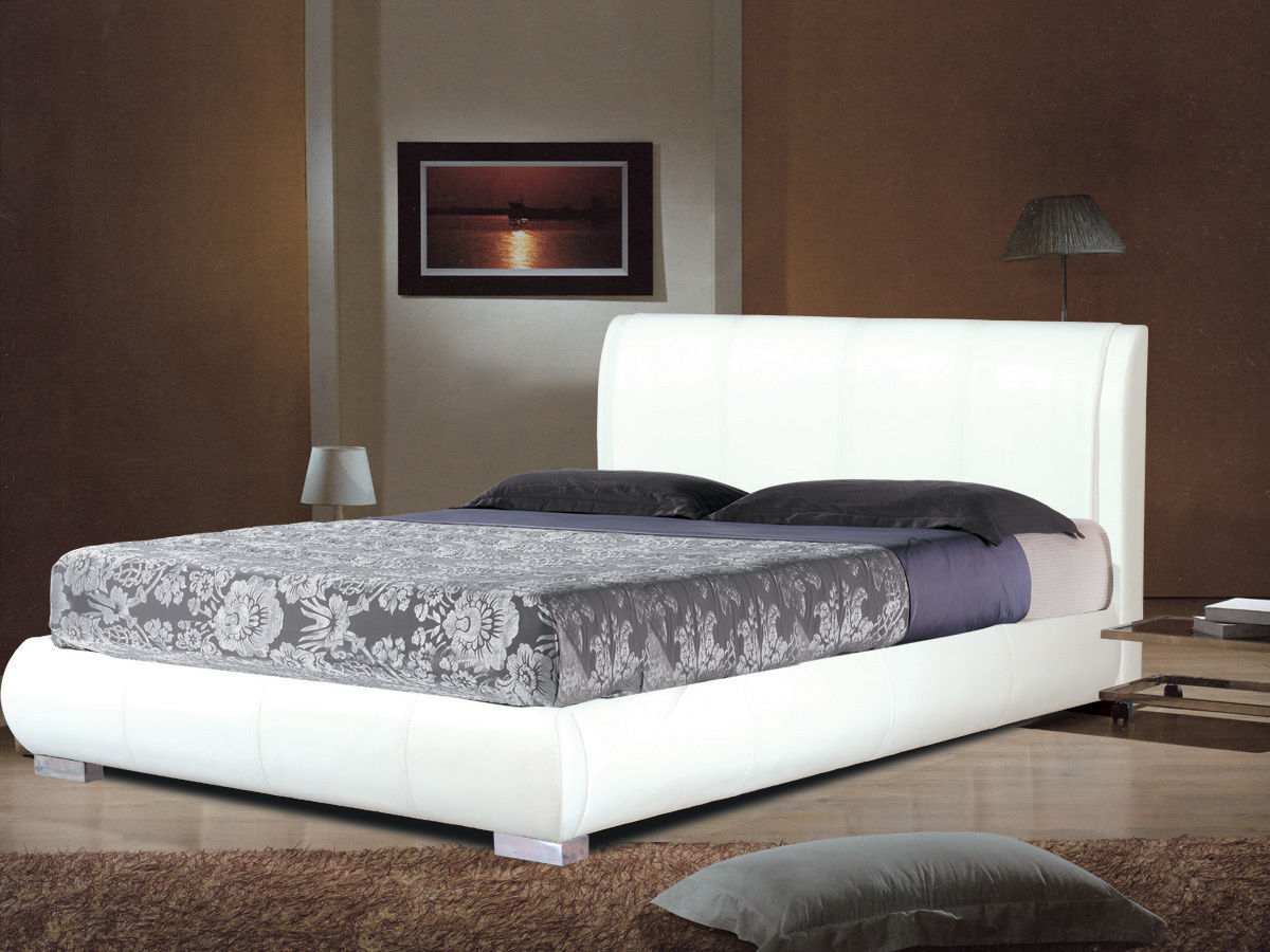 White Faux Leather Bed In Double Or King Homegenies