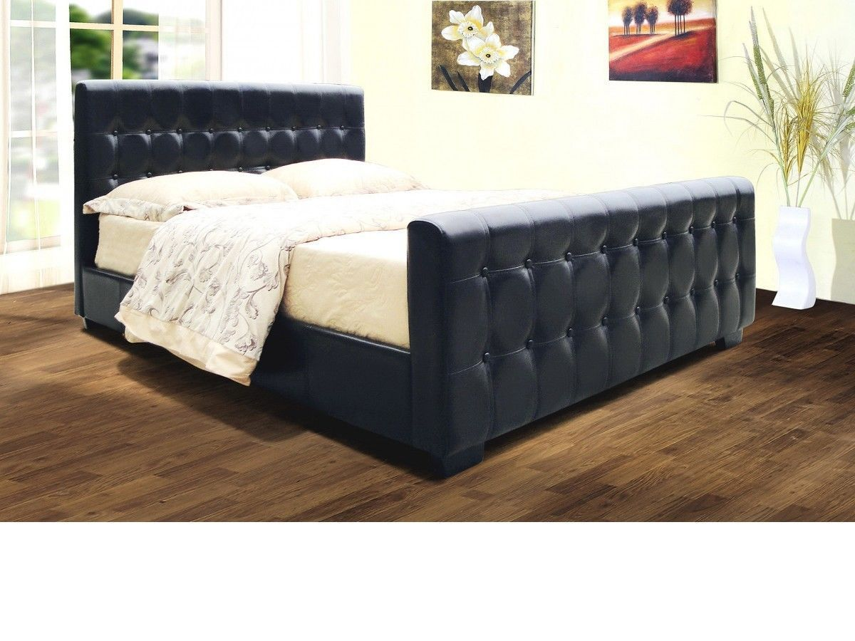 Faux Leather Bed Frame In Black Brown Double King