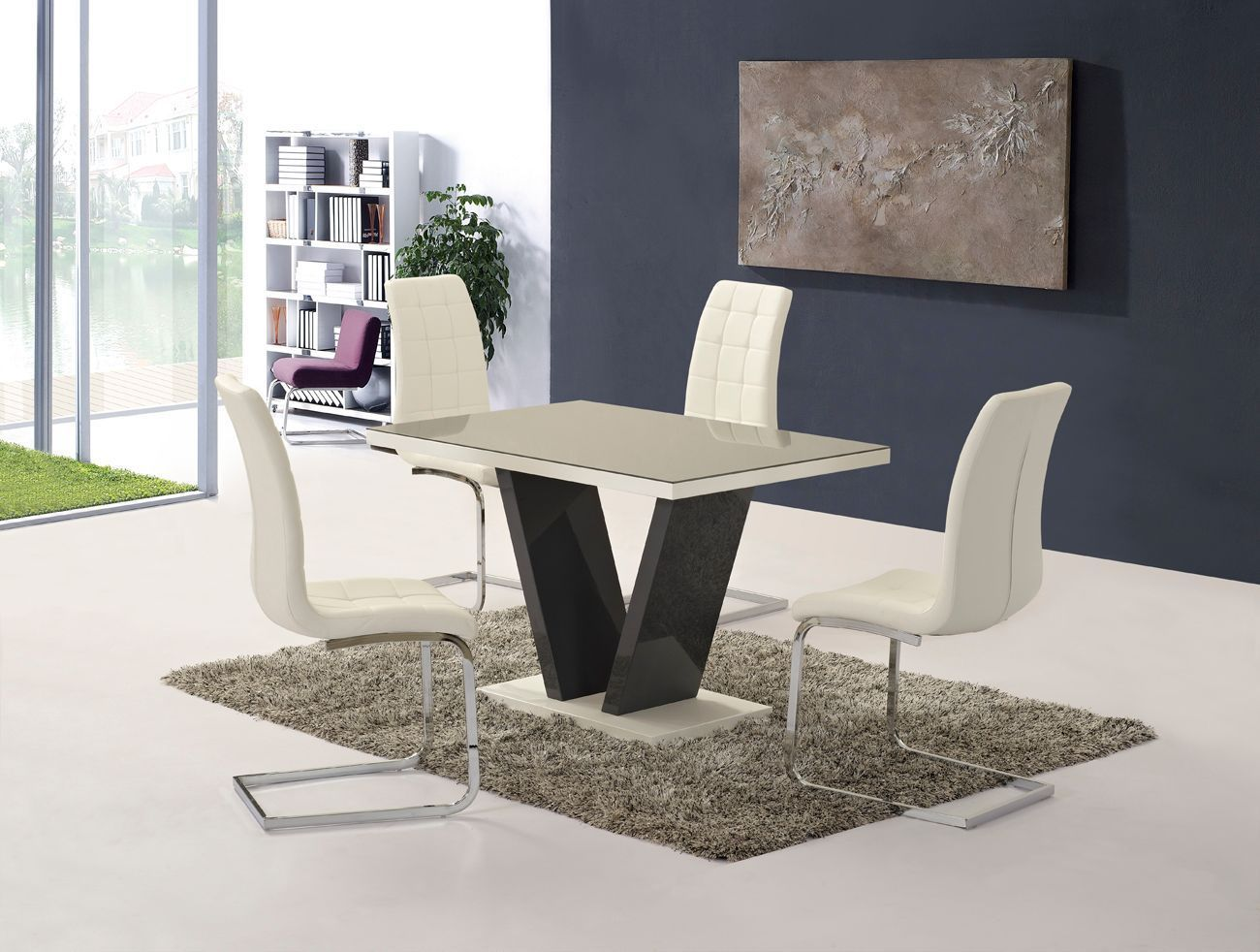 Grey High Gloss Glass Dining Table And 4 White Chairs