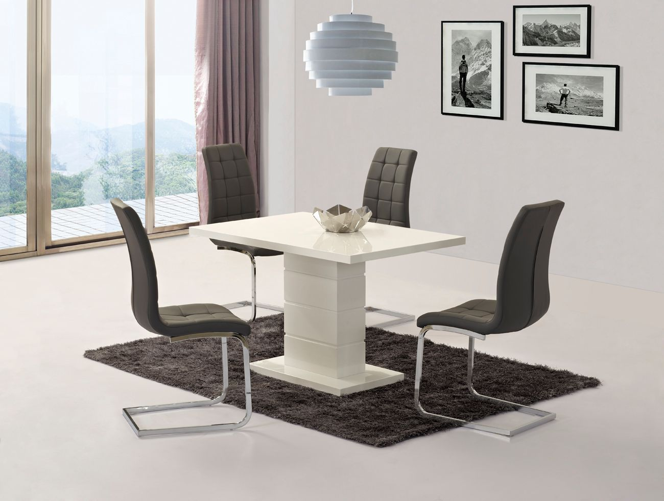 White high gloss dining set with 4 grey chairs for High chair dining set