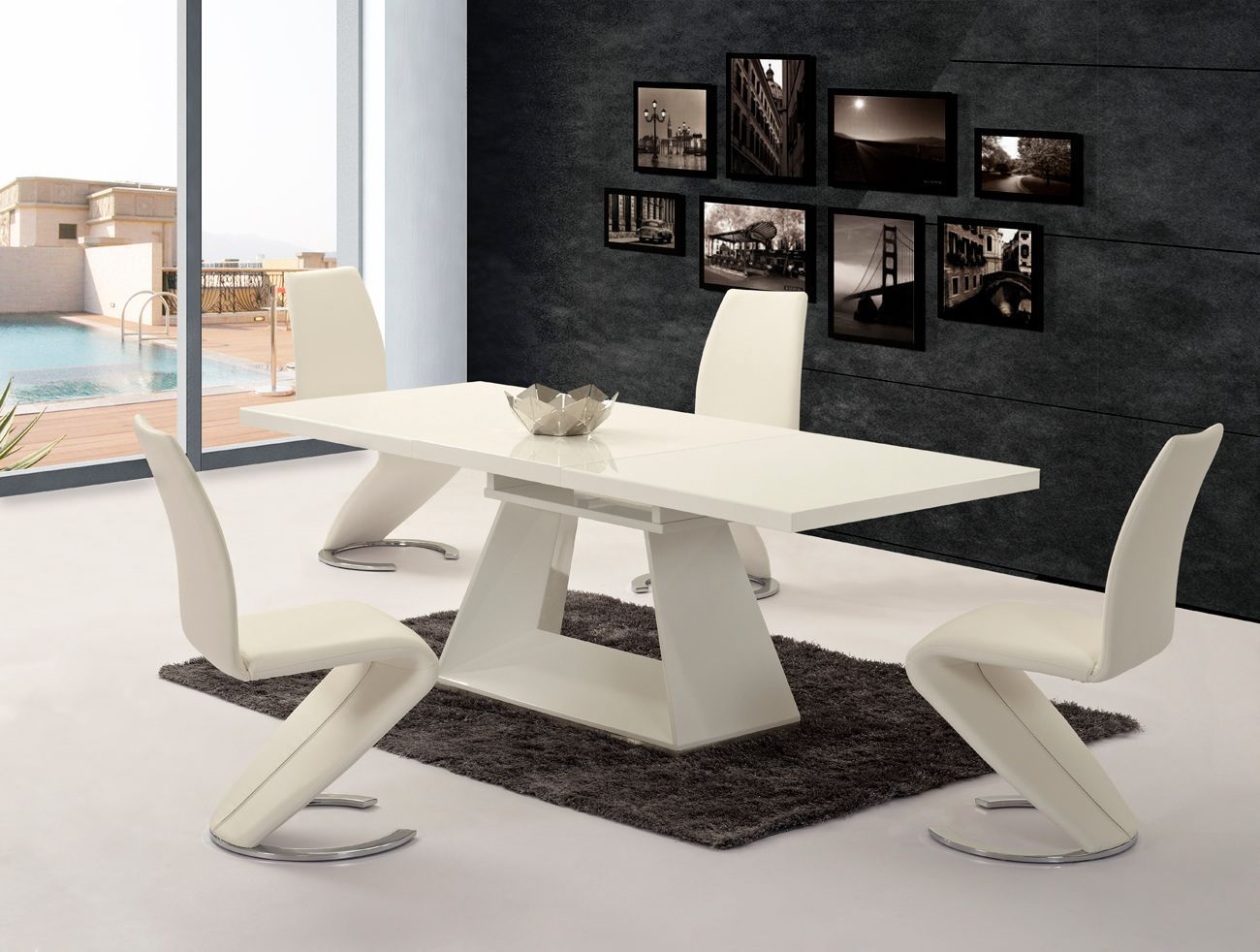 White extending high gloss dining table 6 z chairs for Table 6 chaises