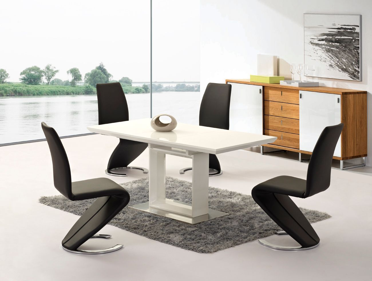 Extending white high gloss dining table and 4 chairs for High table and chairs dining set