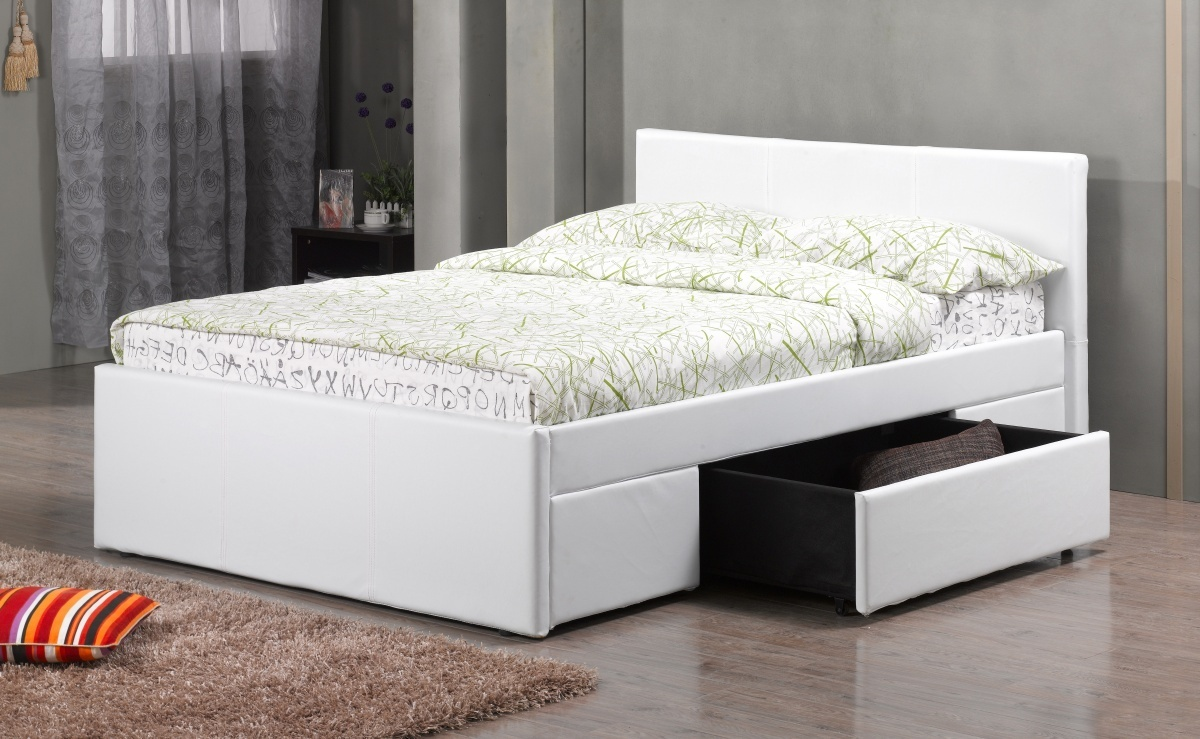 Double white pu faux leather bed drawers homegenies for Double bed with drawers and mattress