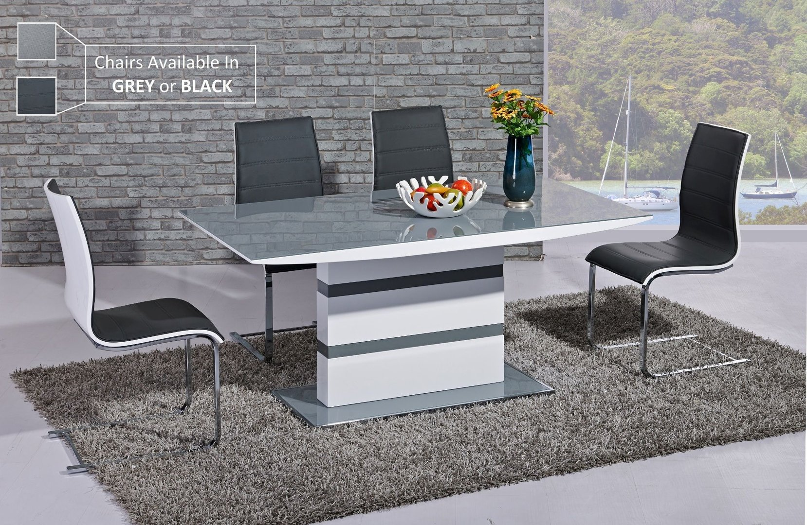 White High Gloss Grey Glass Dining Table And 6 Chairs Homegenies