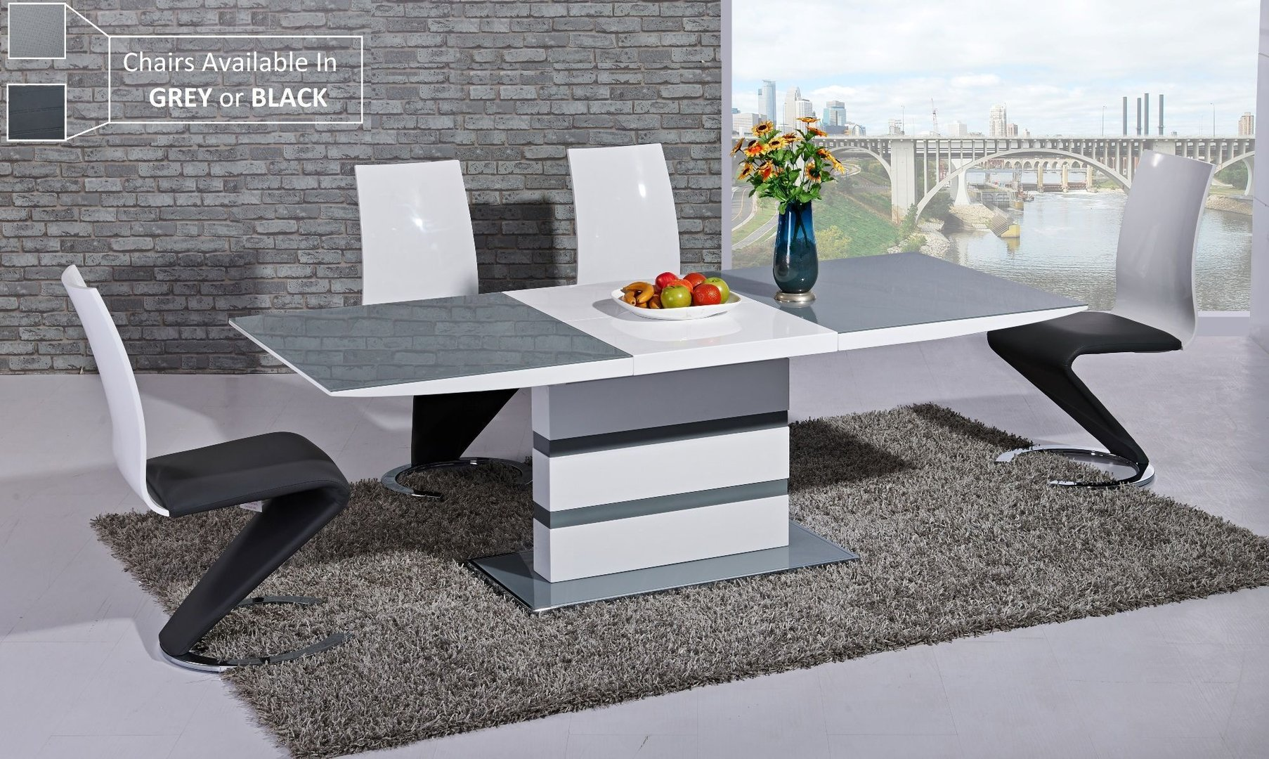 Grey glass white high gloss dining table and 8 chairs Homegenies
