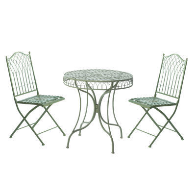 green metal bistro table and 2 chairs garden set
