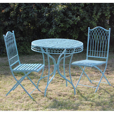 Blue Metal Garden Bistro Table And Chairs Set Homegenies